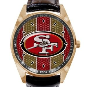 Men Watch NFL 49ers Black Leather Strap